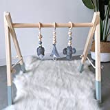 HB.YE Babyspielzeug aus Holz Puzzle gym Spieltrapez inkl. Anhänger Babygymnastik aktiv Spielzeug Babyzimmer Kinderzimmer Dekoration (Grau, B)