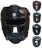 BOUT3 MMA Kopfschutz Boxen Helm für Kampfsport Muay Thai Kickboxen Sparring Boxtraining Boxhelm mit Gitter (M, Schwarz)