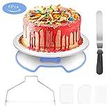 WisFox Tortenplatte Drehbar Abschließbar Tortenständer Kuchen Drehteller Cake Decorating Turntable mit 1 Winkelpalette, 3 Icing Smoother, 1 Kuchen Cutter, für Backen Gebäck, 31x7.7 cm Weiß