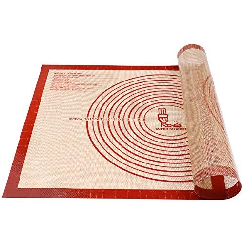 Antihafte Rutschfeste Backunterlage/Backmatte Silikon Groß 71x51cm Ausrollmatte Teigmatte Silikonmatte Backfolie Arbeitsmatte mit Messung für Fondant Gebäck Pizza Matte, BPA Frei, von Super Kitchen(Rot)