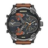 Armbanduhr Männer Edelstahl Analog Quarzuhr Lederband Luxus Uhr Herren Sport Quarzuhr mit großem Zifferblatt Uhr für Herren