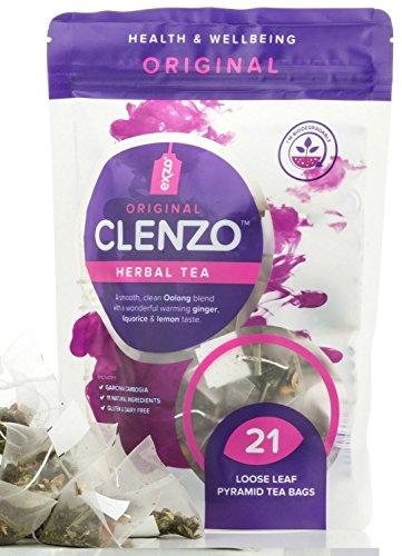 Clenzo Detox Tee 7-21-Tage-Kur zur Reinigung von Körper, Darm und Leber - Mit 11 Natürlichen, Pflanzlichen Inhaltsstoffe wie Garcinia Cambogia - 21 Kompostierbare Pyramidenteebeutel mit Losen Blättern - Keine Abführende Wirkung
