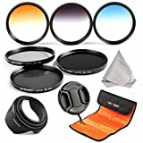 K&F Concept Objektiv Filterset 58mm ND Filter Set 58mm ND2 ND4 ND8 Filter 58mm Verlaufsfilter Set Grau Orange Blau mit Gegenlichtblende 58mm Objektivdeckel Reinigungstuch und Filtertasche für Canon und Nikon DSLR Kamera