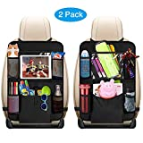 Auto Rückenlehnenschutz, omitium 2 Stück Auto Rücksitz Organizer für Kinder Große Taschen und iPad-/Tablet-Fach, Wasserdicht Autositzschoner, Kick-Matten-Schutz für Autositze