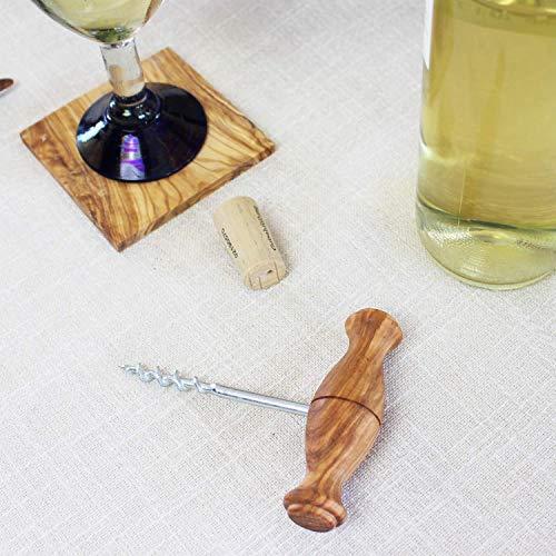 Korkenzieher mit Holzgriff | Flaschenöffner für Weinflaschen | hochwertiger Flaschenöffer aus Olivenholz | HANDMADE | Geschenkidee für Männer | Weinflaschenöffner