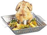 Rosenstein & Söhne Chicken-Hähnchengriller: BBQ-Hähnchen-Griller mit Aroma-Behälter für ganze Hähnchen (Geflügelgriller für Brathähnchen)