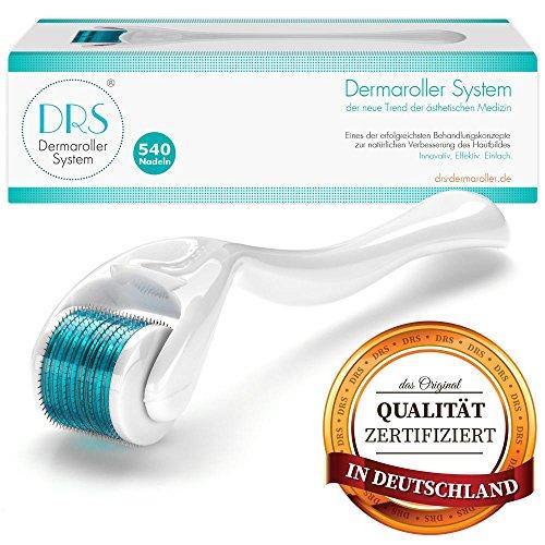 DRS Dermaroller mit 540 Nadeln, der Klassiker, Medizinprodukt Klasse I mit CE-Kennzeichnung, Nadeln aus Edelstahl, Gebrauchsanweisung auf Deutsch und Englisch, Nadellänge:0.50mm