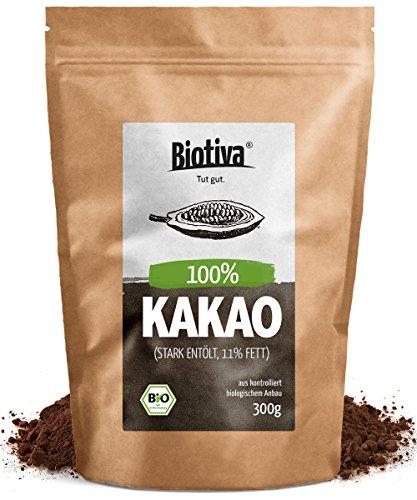 Bio-Kakao Pulver (300g) | 100% reines Kakaopulver | stark entölt (11% Fett) | ohne Zucker I ohne Zusatzstoffe - hochwertigste Biotiva Qualität