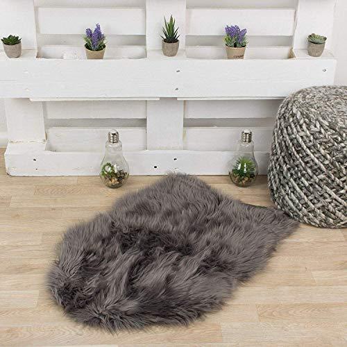Taracarpet Kunstfell Teppich Mokka 055x080 cm Fellform Schaffell Imitat Wohnzimmer Schlafzimmer Kinderzimmer auch als Bett-Vorleger oder als Matte für Stuhl Sofa