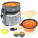 Amazy Futterbeutel für Hunde inkl. faltbarer Trinknapf + Klicker + Kotbeutel + Tuch – Praktischer Leckerlibeutel mit integriertem Hundekotbeutel Spender und vielen Gratis-Extras (Orange)