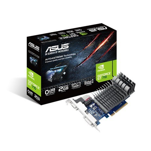 Asus GT710-2-SL Nvidia GeForce Grafikkarte (2GB DDR3 Speicher, PCIe 2.0, HDMI, DVI)