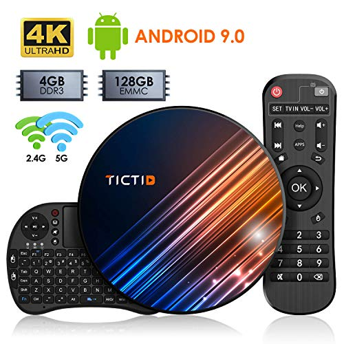 Android 9.0 TV Box 【4G + 128G】 TV Android Box mit Tastatur, BT 4.0 USB 3.0 Quad-Core RK3318 64 Bits, WiFi Double 2,4 G / 5 GHz, LAN 100M, 4K TV Box