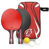 Tencoz Tischtennis-Set, Tischtennisnetze Tischtennisschläger Tischtennis Schläger Ping-Pong-Set/Netz | Premium Tischtennis-Schläger + Tischtennis-Bälle + Tragbare Tasche
