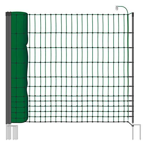 VOSS.farming Hühnernetz 50m, Geflügelzaun, Geflügelnetz, 112 cm, 16 Pfähle, 2 Spitzen, grün Classic