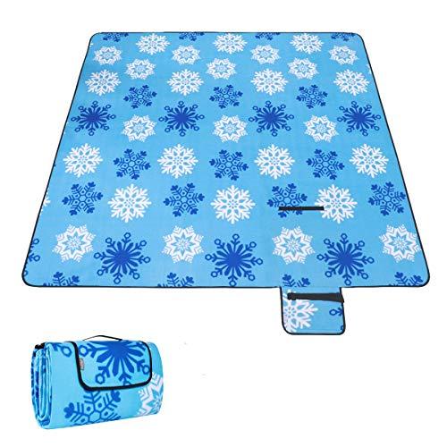 MOVTOTOP 200 x 200 cm XXL Picknickdecke Fleece wärmeisoliert Wasserdicht groß Leicht Campingdecke mit Tragegriff für Outdoor Picknick Strand