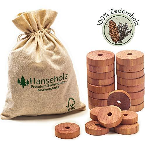 Hanseholz 40x Natürlicher Bio Mottenschutz + Baumwollbeutel/Chemiefreie Mottenabwehr - 100% Natur/Bio Mottenringe gegen Kleidermotten für den Kleiderschrank/Lebenslange Wirkung