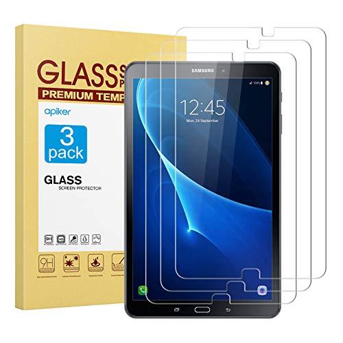 apiker [3 Stück] Schutzfolie für Samsung Galaxy Tab A T580 / T585 [10,1 Zoll],Samsung Galaxy Tab A 10.1 Panzerglas mit 9H Härte,Bläschenfrei,2.5D abgerundet Kante,einfach anzubringen
