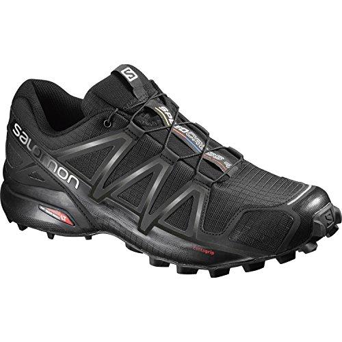 Salomon Speedcross 4 Herren Trailrunning-Schuhe, Black/Black/Black Metallic, 43 1/3 EU
