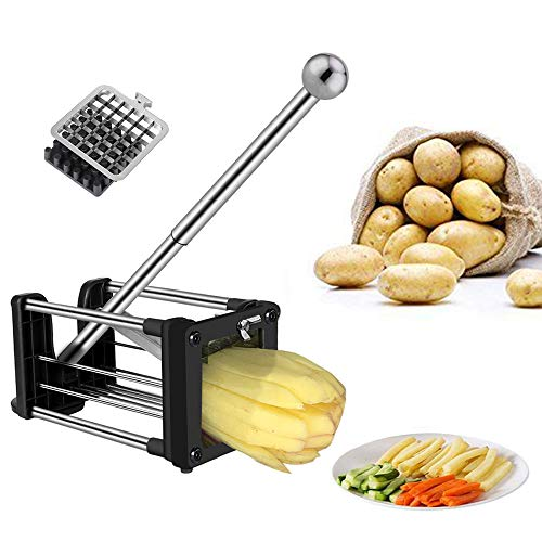 Telle Pommes Frites Schneider, Gemüseschneider, Kartoffelschneider mit 2 verschiedenen Größen Super-Edelstahl-Scharfe Ersatzklingen und Rutschfeste Füße, ideal für Kartoffeln, Karotten, Gurken