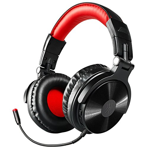 OneOdio Bluetooth Kopfhörer, Kabellos Over Ear Headset mit abnehmbare Mikrofon & Dual 50mm Treiber, 30 Stunden Spielzeit, DJ Kopfhörer (mit abnehmbare Mikrofon, Schwarz Rot)