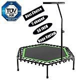 Buano Fitness-Trampolin, TÜV-Geprüft, Ø 128cm, leise Gummiseilfederung, 5-Fach höhenverstellbarer Haltegriff, inkl. Randabdeckung, Nutzergewicht bis 130kg, Trampolin für Jumping Fitness (T_Grün)