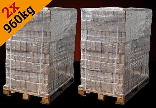 Holzbriketts Hartholz-Mix, *jetzt sparen beim Kauf von 2 Paletten*, 1920kg, kostenfreie Lieferung, Holz-Briketts *0,30€/kg*