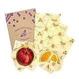 Verpackungssatz von 4 Wraps - groß, mittel, klein + 1 EXTRA | Umweltfreundliche, handgefertigte und wiederverwendbare Wraps mit Bienenwachs, gesundheitsfreundlich, ohne Kunststoffe, waschbeständig