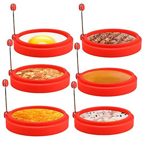 Ei Ring,CestMall 6 Pack Spiegeleiform für Bratpfanne Ei Ringe Silikon Pfannkuchenform Rund Omelett Form Für Eier Kochen