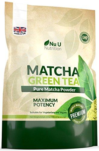 Matcha Grüntee Pulver 250g – Hochwertiger Matcha Tee 250g Doppelgröße, Hergestellt in Großbritannien, ultrafeinem, leicht zu mixendem Matcha Pulver reich an Antioxidanten, Ideal für Smooties