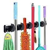 Rovtop Gerätehalter Wandhalterung für Mopp Besen Gartenwerkzeuge mit 5 Schnellspannern und 6 Haken