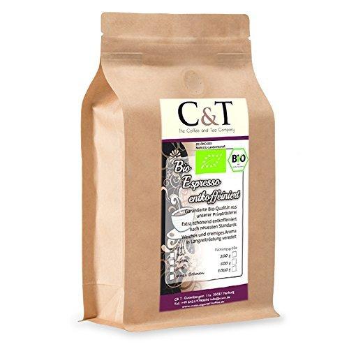 C&T Bio Espresso Crema | Cafe entkoffeiniert 100 % Arabica 1000 g entkoffeinierter Kaffee ganze Bohnen im Kraftpapierbeutel