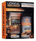 L'Oréal Men Expert Hydra Energy Geschenkset für Männer, 24H Feuchtigkeitspflege mit Guarana (50ml) und Waschgel (150ml), für die tägliche Gesichtspflege