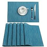 U'Artlines 6er Set Tischsets Waschbare Platzsets Rutschsicher Hitzebeständig Platzdeckchen-45 * 30cm(Silber-Grau) (6er Platzsets, Blau)