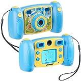 Somikon Kompakte Kinder-Kamera: Kinder-Full-HD-Digitalkamera, 2. Objektiv für Selfies & 2 Sucher, Blau (Kinderdigitalkameras)