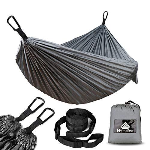 NATUREFUN Ultraleichte Reise Camping Hängematte | 300kg Tragkraft,Atmungsaktiv, Schnelltrocknendes Fallschirm Nylon |Für Draußen Drinnen Garten