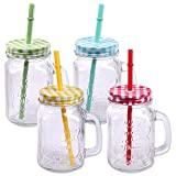 4er Pack Trinkgläser mit Deckel, Henkel und Strohhalm Trinkhalm Glas Gläser Trinkglas Cocktail 500ml Drinking Jar Vintage Retro Garten Terasse