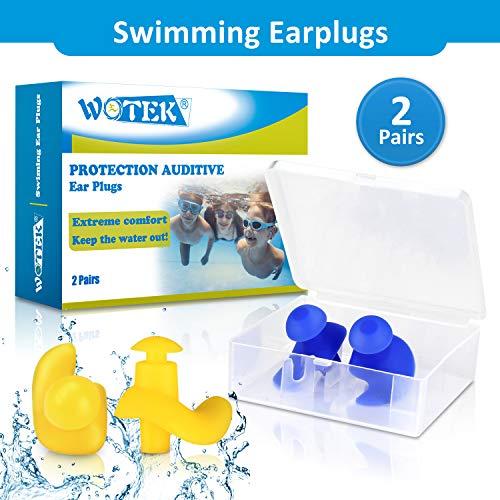 WOTEK Ohrstöpsel Schwimmen, 2 Paar wasserdichte Wiederverwendbare Silikon Ohrstöpsel, Weiches Silikon, Geeignet zum Schwimmen, Duschen, Wassersport-Männer und Frauen (gelb & blau)