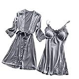 Yazidan Frauen Sexy Pyjamas Seide Spitze Sexy V-Ausschnitt Nachthemd Kimono Cardigan Robe Zweiteiliges Set Sexy Satin Nachtkleid Kurz Nachtwäsche Sleepwear Trägerkleid \n\n