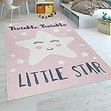Paco Home Kinderteppich Kinderzimmer Mädchen Waschbar Niedlicher Stern Spruch Rosa Weiss, Grösse:80x150 cm
