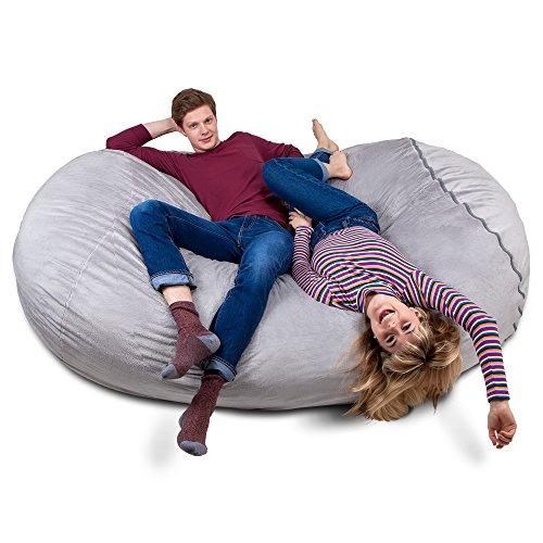 Riesiger Giga Sitzsack in Grau mit Memory Schaumstoff Füllung und Waschbarem Velour Bezug - Gemütliches Sofa, Riesen Bett, Kuschelige Liege, Bean Bag für Kinder, Teenager und Erwachsene