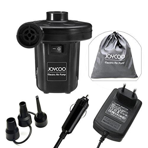 Joycoo Elektrische Luftpumpe für Camping, Luftmatratze,tragbar schnell aufblasbar für die Reise. Inflator Deflator für, Pools, Boote, Floß, Luftmatratzen, aufblasbares Spielzeug.Elektrische Pumpe, 2 in 1 AC 230 V EU Stecker / DC 12V Auto