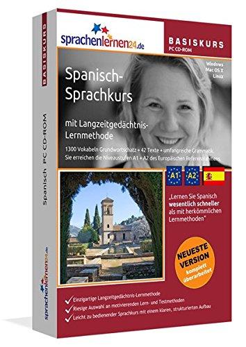 Spanisch-Basiskurs mit Langzeitgedächtnis-Lernmethode von Sprachenlernen24: Lernstufen A1 + A2. Spanisch lernen für Anfänger. Sprachkurs PC CD-ROM für Windows 10,8,7,Vista,XP / Linux / Mac OS X