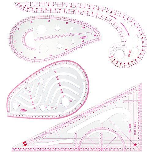 ccmart 4, Streifendesign French Curve Lineal Nähen, für Kunststoff Metrisches Lineal Nähen Tools Maßnahme für Schneidern Muster Design DIY Kleidung biegbarer Zeichnen Vorlage