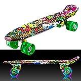 55cm/22 Mini Cruiser Board Retro Skateboard Komplettboard mit LED Leuchtrollen für Jugendliche Kinder und Erwachsene (Farbe 32)