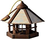 dobar 21390 Vogelhaus Camouflage zum Aufhängen, aus Holz mit Futter-Silo, braun/beige/grau