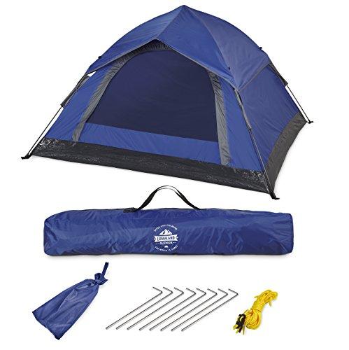 Lumaland Outdoor Leichtes Pop up Wurfzelt 3 Personen Zelt Camping Festival Etc. 210 x 190 x 110 cm Robust Blau