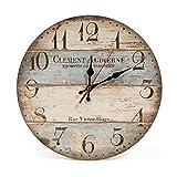 LOHAS Home 12 Zoll/30CM Holz Wanduhr/Küchenuhr im Landhausstil Stille Nicht-tickende für die Küche,Home Office, Wohnzimmer und Schlafzimmer (Victor Hugo)