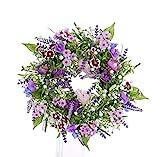 artplants Künstlicher Sommerkranz Fedora, Lavendel, Lathyrus, lila, Ø30cm - Türkranz/Tischkranz