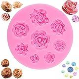 OOTSR 3D Rose Blumen Silikonform Kuchen Backform Muffinform Silikon Schokolade Gelee Süßigkeiten Backen Formen Fondant Dekorieren (8 Hohlrosen)