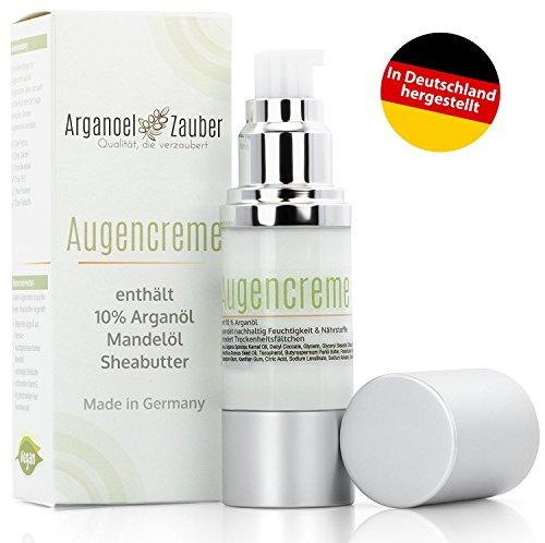 Augencreme mit 10% Arganöl | spendet Feuchtigkeit ohne zu reizen | effektive Augenpflege gegen kleine Trockenheitsfältchen | 30 ml von Arganoel-Zauber | Naturkosmetik aus Deutschland